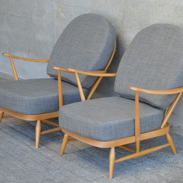 Pair Of Ercol Windsor 203 Armchairs In Soft Grey The