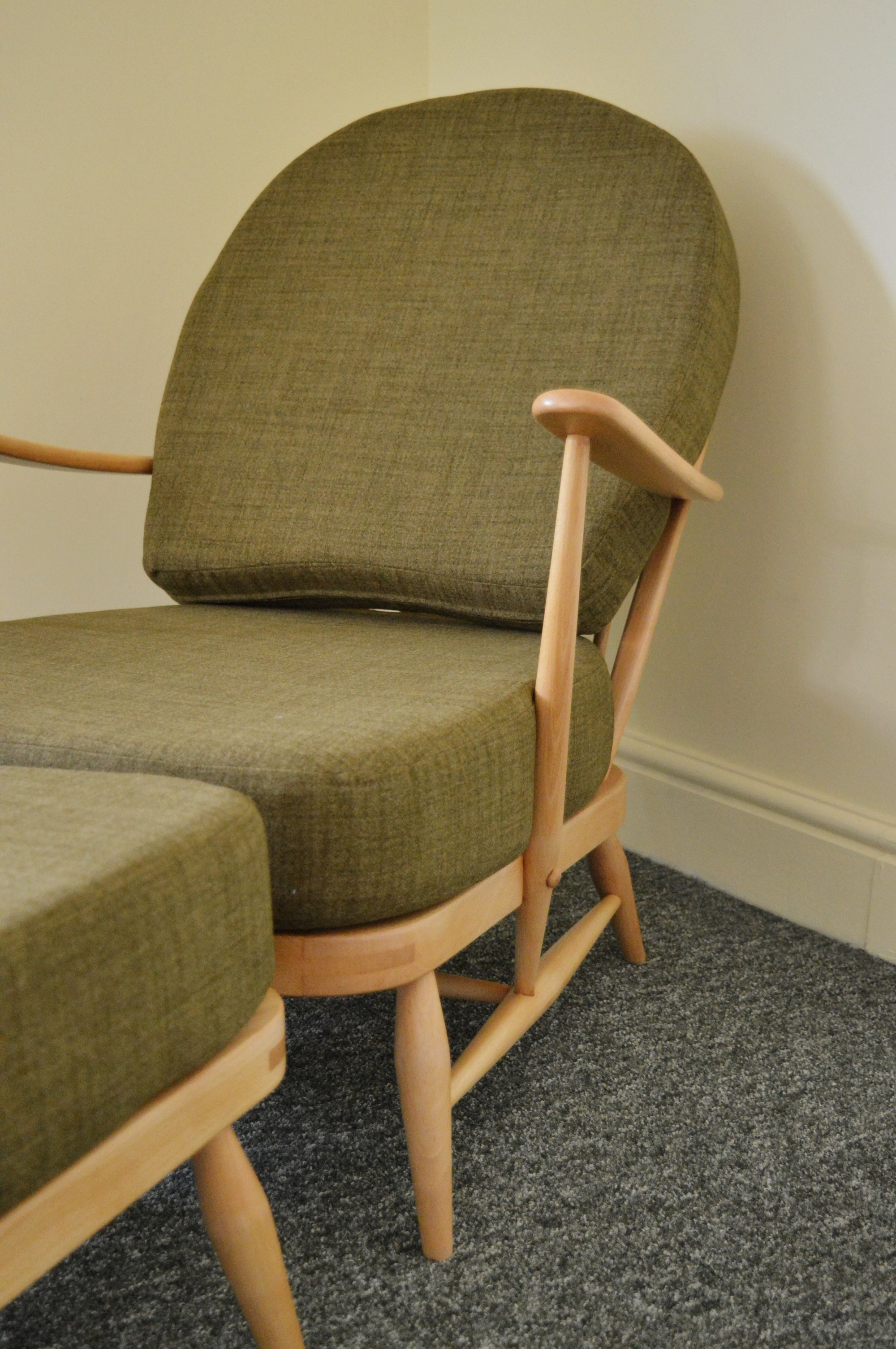 Vintage Ercol Armchair Amp Matching Footstool In Soft Green